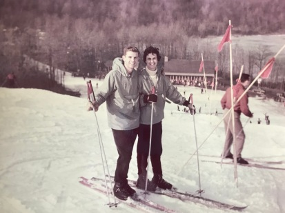 Ed and Bev skiing many years back
