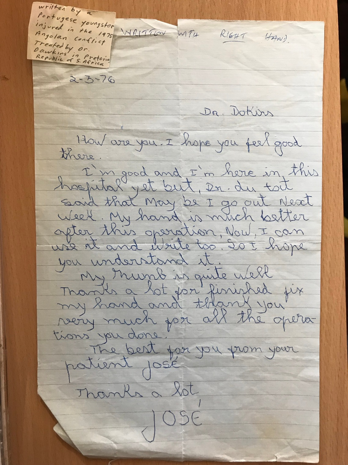 Letter from a Portuguese patient to Dr. Dawkins after being treated from injuries sustained in the Angolan conflict (1975).